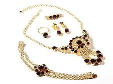 Vintage Czech gold tone rhinestone necklace pin brooch earring ring bracelet set