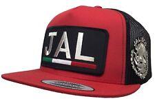 JALISCO [JAL} LOGO FEDERAL ALL SILVER 2 LOGOS HAT RED BLACK TRUCKER