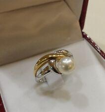 anello   donna  KIARA    oro bianco e giallo  con  perla