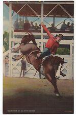 "1945 Giant Linen Rodeo Postcard "" Bill Linderman 1945 All around Champion """