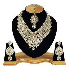 Bridal Designer Silver Plated Handmade Zerconic Kundan Necklace Set Earring tika