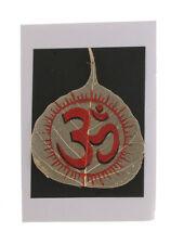 Peinture artisanale feuille pipal peepal arbre de bodhi Om  4346 MP