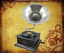 Gramophone Party Gag Square Mahogany Nickel Plated Gift in Vintage Decoration 1