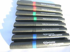 8 Recycled Eco-Friendly REMARKABLE Dry-Wipe Marker Pens 8 blue red black green