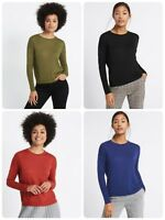 Ex M+S Womens Round Neck Jumper With Ribbed Side Size 6-24