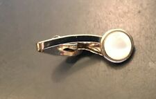 """1 1/2"""" with Mop Inset Vtg Gold Tone Tie Clip"""