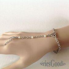 Celtique Gothique Mariage Bracelet Bague motif celte Triquetra et perles nacrées