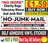 Post Box Sticker, NO JUNK MAIL, Addressed Mail Only, Door Sign/Plaque. No :LIT❶