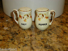 HALL JEWEL TEA AUTUMN LEAF MINIATURE 22K GOLD TRIM MINI SALT & PEPPER SET