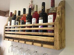 FARMHOUSE WOODEN WINE & GLASS RACK HOLDER - HAND MADE