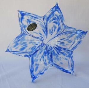 """Large 8"""" Genuine Italian Art Blown Glass Flower Dark Blue Italy Murano No 819"""
