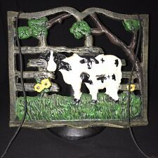 New listing Vintage Cast Iron Black White Cow Recipe CookBook Stand Holder w/ Page Weights