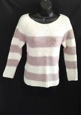 Next Wool Mix Stripe Scoop Neck Long sleeve Thick Knit Jumper M 10 12