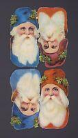 originale Oblatenbilder 4 geprägte Weihnachtsmänner - DIE CUT SCRAPS