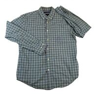 Banana Republic Mens Grant Fit Blue Green Plaid Long Sleeve Button Up Shirt L