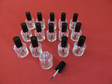 15-  NEW EMPTY CLEAR GLASS BOTTLES W/ BRUSH CAP 1/2OZ NAIL POLISH, ARTS & CRAFTS