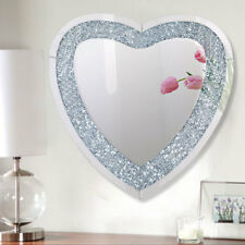 Large 3D Sparkly 80cm Heart Shape Crushed Diamond Diamante Crystal Wall Mirror