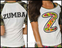 ZUMBA Nation Mashed Up Camo Army Football Tee Top-Rare ElteZWear Z1T01059 M L XL