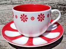 Davids Tea Cup & Saucer Red White Funky Flower Pattern