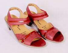 C1041 Theresia M. Sandalen Leder rot Gr. 38 G Klettverschluss Wechselfußbett