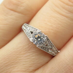 925 Sterling Silver Round-Cut & Pave C Z Engagement Ring Size 6 1/4