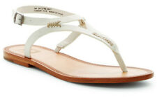 Frye Women's Ruth Whipstitch Slingback Thong Flat Leather Sandals White Size 8.5