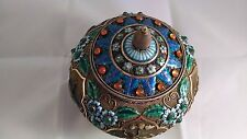 Chinese Silver and Enamel Tea Caddy, Covered Vase or Crock Jar w/Jade Stones