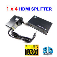 1 IN 4 OUT 1x4 HDMI Splitter Duplicator Amplifier Full HD 1080P with AC Adapter