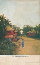 Philippines * San Nichola Cebu ca. 1910 Post Card Children and Huts