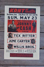 Johnny Cash Tour Poster 1965 KRNT Theater Des Moines Iowa June Carter Tex Ritter