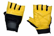WEIGHT LIFTING LEATHER PADDED PALM GLOVES TRAINING BODY BUILDING GYM SPORTS