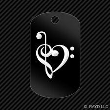 Treble Clef Heart Keychain GI dog tag engraved many colors  band girly