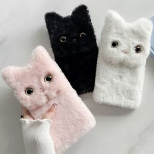 For Huawei Case Plush Fluffy Cute Cat Winter Soft Nap Stand Protective Covers A