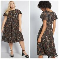 Nwot Modcloth Embellished To Perfection Floral Dress $99 2x Black