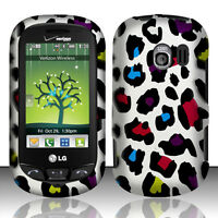 For LG Extravert VN271 HARD Protector Case Snap On Phone Cover Rainbow Leopard