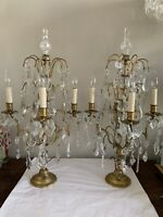 Vintage Pair French Brass Crystal Girandoles Candelabras Lamp Chandelier Lusters