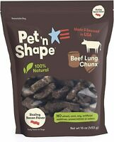 Pet 'n Shape Beef Lung Dog Treats Made and Sourced in the USA Bacon Flavor 16Oz