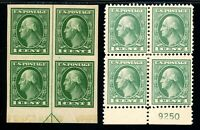 USAstamps Unused VF US Washington Blocks Scott 408 MNH, 525 MHR OG Faults