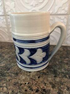 Williamsburg Pottery Large Salt Glaze Mug/Tankard Cobalt Blue Oak Leaf