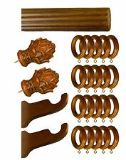 "2"" Diameter Curtain Rod Wood/ Rasin Teak Color Fluted Design 72"" long"