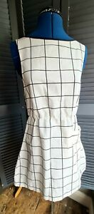 Simple Cotton Mini Dress, Vintage, 1970s, Black And White, Check, Size 8-10