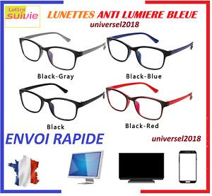 Lunettes Anti lumière bleue Anti-Radiation Protection des yeux écrans PC TV TEL