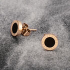 Lady Fashion Gold + Black Stud Earrings Round Elegant 1x1cm