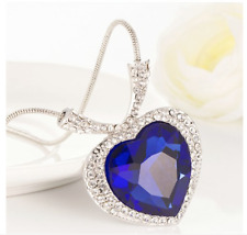 Ladies Girls Necklace Pendant Romantic Crystal Heart Shape Blue Stone Silver