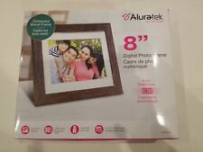 "Aluratek 8"" Distressed Wood Digital Photo Frame with Auto Slideshow - NEW"