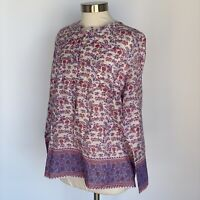 J Crew Tunic in Iris Block Print Long Sleeve Popover Shimmery Purple Floral Top