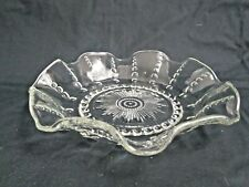 "Vintage Columbia Federal Glass Serving Bowl Fluted Edge - 10"" Diameter"