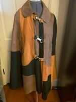 Vintage Cape Coat 1970's Suede Tri Colored in excellent condition Very Clean