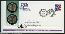 UNITED STATES 50 STATE QUARTERS OHIO  P & D OFFICIAL COMMEMORATIVE COVER