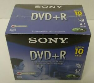 New 10 Pack Sony DVD+R 4.7 GB 120 min. 1-16x with Jewel Case Factory Sealed NEW